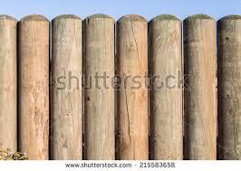 Garden Fence Decor Wood Pole Fence Decor Low Wood Stock Photo 215583658 Shutterstock