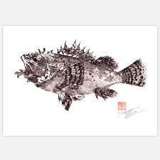 Fishing For Gyotaku Scorpion Fish Print   x     Fab