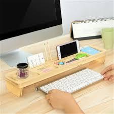 Bamboo Desk Organizer Multifunctional Bamboo Wood Storage Holder Rack Computer Keyboard