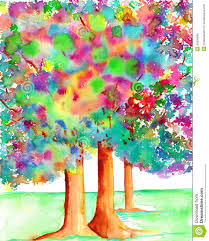 trees with illuminated leaves watercolor painting royalty free