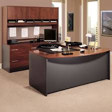 bush series c u shaped desk with 2 door hutch and lateral file