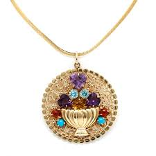 yellow gold gemstone necklace images 14k yellow gold gemstone pendant necklace ebth 0&amp