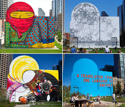 a translation for boston s massive greenway mural the artery the four dewey square mural by clockwise from top left os gemeos
