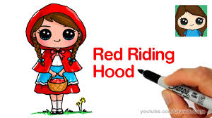 how to draw little red riding hood cute and easy youtube