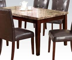 Marble Top Dining Room Tables Acme Granada Brown Marble Top Dining Table In Walnut 17042 By