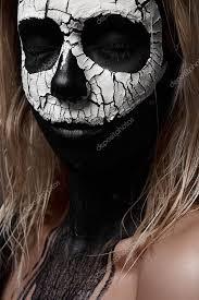 halloween makeup ideas white skull on black face u2014 stock photo