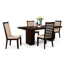 shop 5 piece dining room sets american signature furniture paragon table and 4 chairs merlot and camel