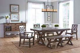 Solid Wood Dining Room Chairs by Rustic Solid Wood Arm Chair With Weathered Gray Finish And X