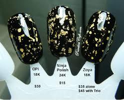gold flake top coat comparison with zoya opi and ninja polish