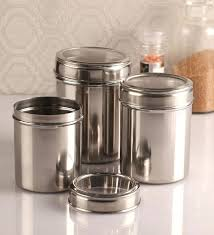 silver kitchen canisters silver canisters kitchen see through silver canister set of 3 white