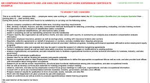 sample certificate of employment and compensation hr compensation benefits and job analysis specialist work