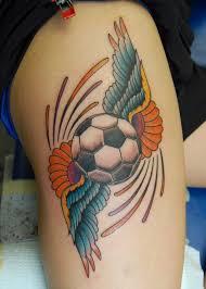 winged football on right leg
