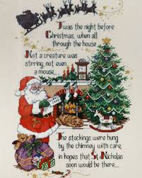 vtg dimensions twas the night before xmas poem counted cross
