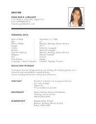 exle of personal resume exle of resume fotolip rich image and wallpaper