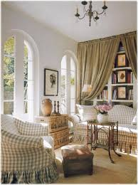 country french living room style with chic flower vase and chair