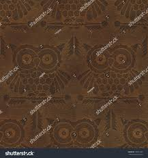 Abstract Decorative Owls On Raw Leather Stock Illustration