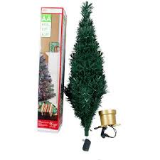time pre lit 2 5 fiber optic artificial tree