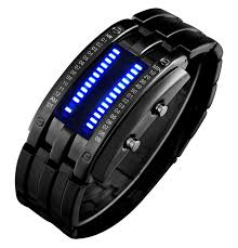 mens bracelet digital images Gosasa binary matrix blue led digital waterproof watch mens jpg