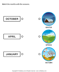 seasons matching with months worksheet turtle diary