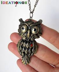 steampunk owl necklace images Steampunk owl polymer clay necklace by ideationox jpg