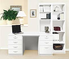 set 15 in wh white desk with hutch shelves tall narrow bookcase