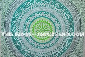 Indian Inspired Bedding Green Mandala Indian Bedspread Bohemian Bedroom Bedding Coverlet