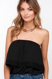 strapless blouse cool black top boho top crop top strapless top 40 00