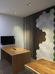the new officeworks johor jaya feature wall made up of wood