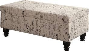 Fabric Storage Ottoman Bench by Homesullivan Putnam Textured Black Cowhide Print Storage Bench