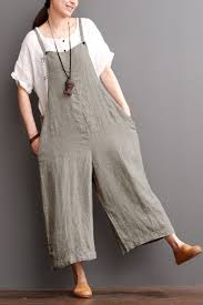 maxi size cotton linen sen department causel overalls big pocket maxi