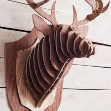 deer wood wall wooden deer stag trophy large deer from woodko on etsy