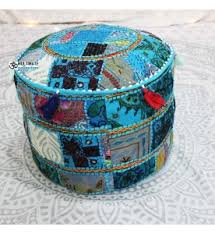 bohemian poufs ottoman indian footstool traditional style