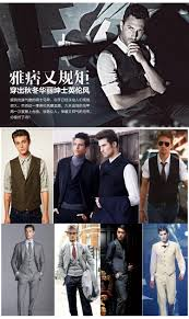 waistcoat men casual slim dress suit vest male british style