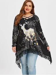 plus size reindeer galaxy lace hem top black plus size t shirts