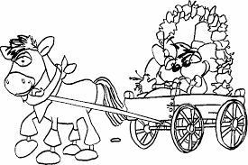 coloring groom bride barouche drawn horse