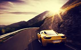 ferrari yellow car car sunset ferrari yellow cars road wallpapers hd desktop