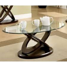oval shaped coffee table furniture of america evalline oval glass top coffee table free