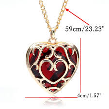heart shaped charm necklace images Big red crystal heart shaped pendant necklace gold plated at jpg