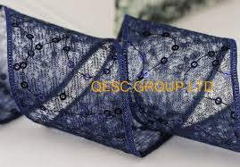 navy blue lace ribbon new 40mm navy blue sequin gauze ribbon netting ribbon lace ribbon