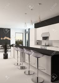 Kitchen With Bar Design Modern Black And White Kitchen With A Long Receding Bar Counter