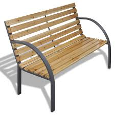 vidaxl iron frame garden bench with wood slats vidaxl com
