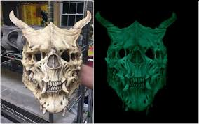 Glow Dark Halloween Costumes Glow Dark Edition Oni Skull Mask Demon Skull Horror