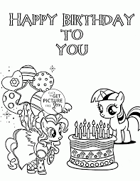 my little pony happy birthday to you coloring page for kids