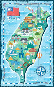 map with attractions adorable taiwan travel map with attractions in flat style royalty