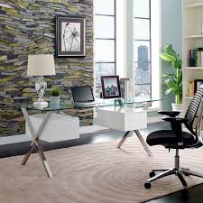 Modern Office Table With Glass Top Modway Abeyance Office Desk In White Beyond Stores