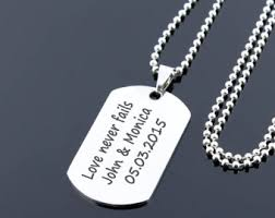 engraved dog tags for men dog tag necklace etsy