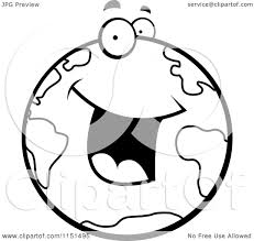 cartoon clipart of a black and white excited earth character