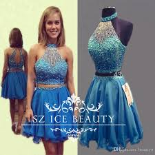 dazzling royal blue two piece short homecoming prom dresses crop