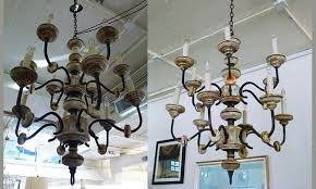 Wood Iron Chandelier Area Houston Antiques Furniture 19th C Italian Wood And Iron