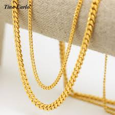 small chain necklace images Mens 3mm 5mm wide solid golden small miami cuban curb link chain jpg